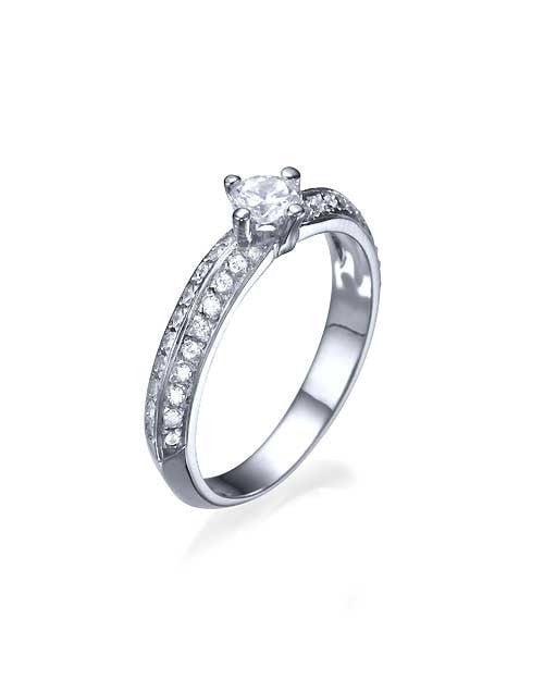 Engagement Rings White Gold Pave Set Knife Edge Solitaire Engagement Ring - 0.3ct Diamond
