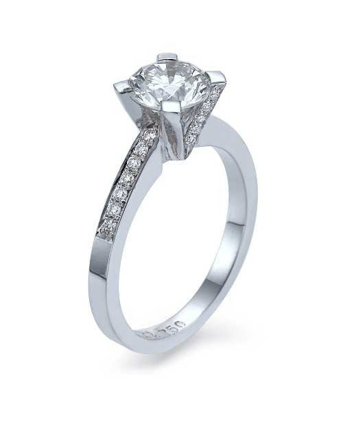 Engagement Rings White Gold Pave Set Modern 4-Prong V-Shape Mount Diamond Rings