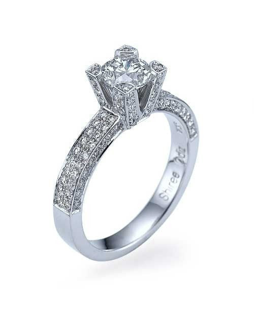 Engagement Rings White Gold Pave Set Round Cut 4-Prong Diamond Semi Mount Settings