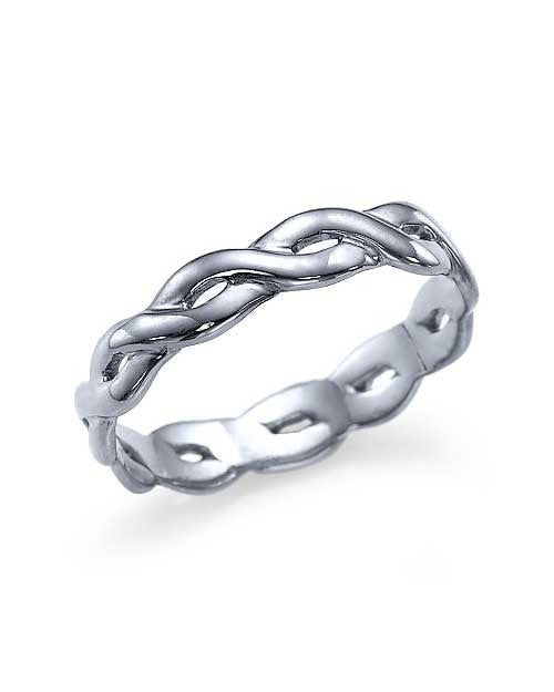 White Gold Plain Infinity Design Women's Wedding Band Ring - Shiree Odiz