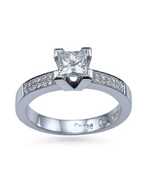 Engagement Rings White Gold Princess Cut 4 Prong Pave Set Ring Setting Only