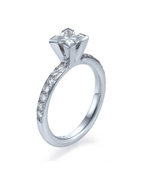 White Gold Princess Cut 4 Prong Solitaire Engagement Rings Without