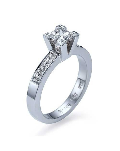 White Gold Princess Cut Engagement Ring 4-Prong Pave Set - 1ct Diamond - Custom Made