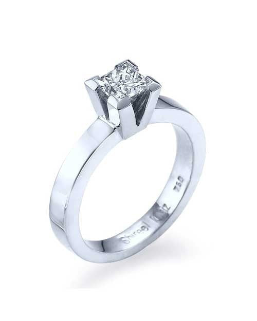 White Gold Princess Cut Engagement Ring 4 Prong Solitaire - 1ct Diamond - Custom Made