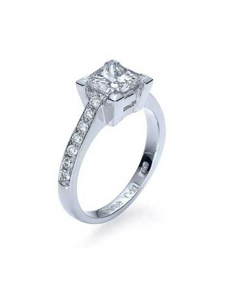 White Gold Princess Cut Engagement Ring Classic  - 2ct Diamond - Custom Made