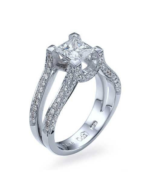 White Gold Princess Cut Engagement Ring Split Shank Pave - 1.5ct Diamond - Custom Made
