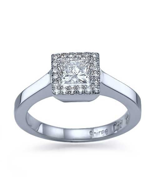 White Gold Princess Cut Halo Engagement Ring Bezel Set Diamonds - 1ct Diamond - Custom Made