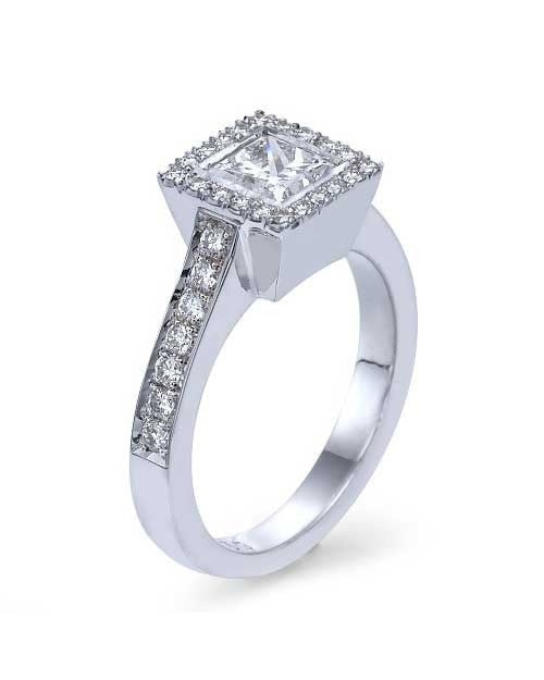Engagement Rings White Gold Princess Cut Halo Engagement Ring Pave Set - 1ct Diamond