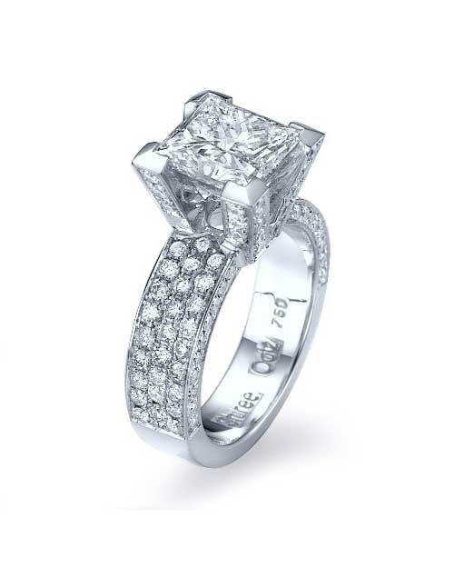 Engagement Rings White Gold Princess Cut Pave Set 3-Row Diamond Semi Mount Settings