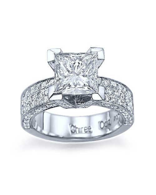 White Gold Princess Cut Pave Set 3-Row Engagement Ring - 1ct Diamond - Custom Made