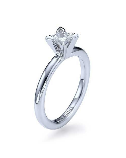 Engagement Rings White Gold Princess Cut Rings 4-Prong Solitaire Semi Mount Engagement Rings