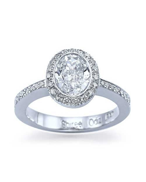 Engagement Rings White Gold Round Cut Halo Engagement Ring Pave Set - 1ct Diamond