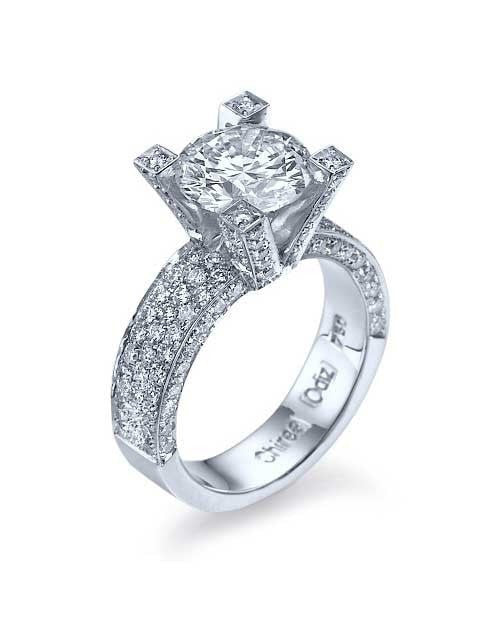 White Gold Round Cut Semi Mount Ring Pave Diamond Settings - Custom Made