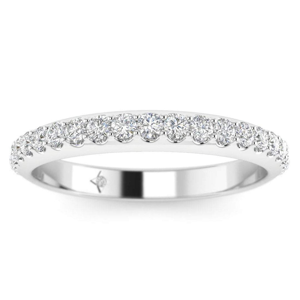 White Gold Shared-Prong Pave Women's Diamond Eternity Band Ring - Custom Made