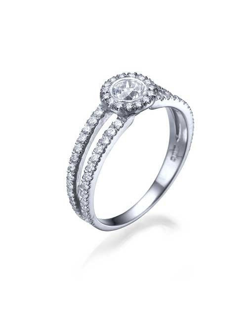 Engagement Rings White Gold Split Shank Halo Outline Round Engagement Ring - 0.3ct Diamond
