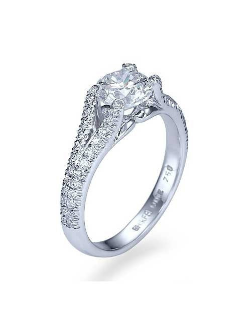Engagement Rings White Gold Split Shank Modern Round Cut Engagement Ring - 1ct Diamond