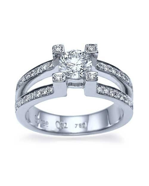 White Gold Split Shank Round Engagement 4 Prong Ring - 0.75ct Diamond - Custom Made