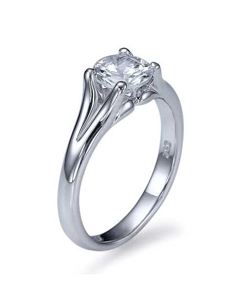 White Gold Split Shank Vintage Solitaire Engagement Ring - 0.75ct Diamond - Custom Made