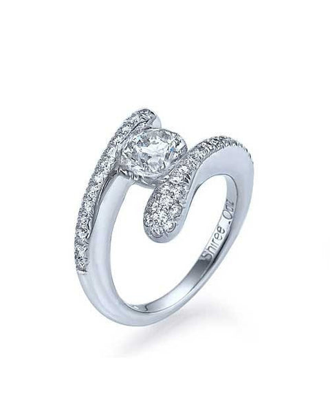 Engagement Rings White Gold Tension Set Round Unusual Engagement Rings - 0.5ct Diamond