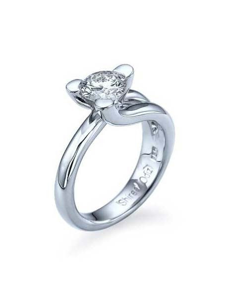 Engagement Rings White Gold Tension Set Solitaire Engagement Ring 3 Prong - 1ct Diamond