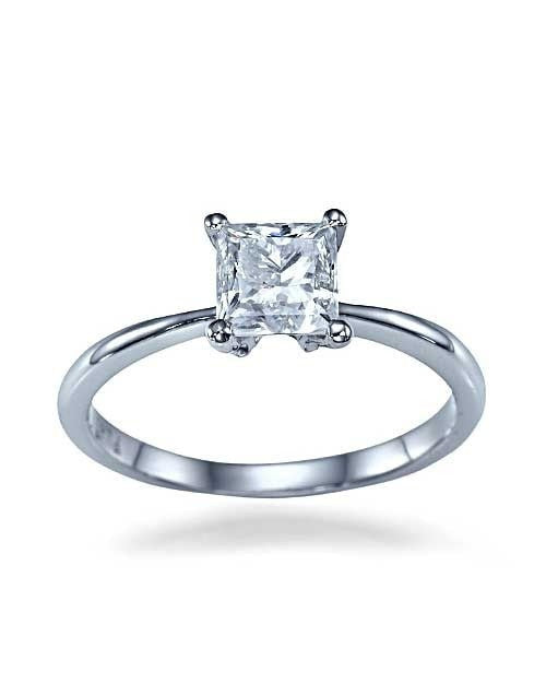 White Gold Thin 4-Prong Princess Cut Engagement Ring - 1ct Diamond - Custom Made