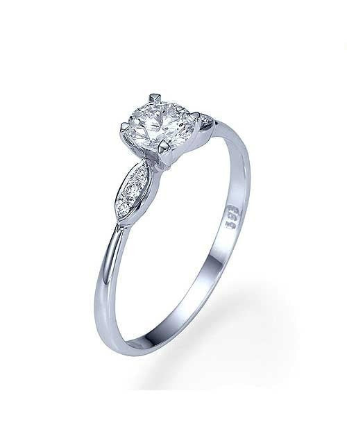 Engagement Rings White Gold Thin 4-Prong Vintage Delicate Engagement Ring - 0.5ct Diamond