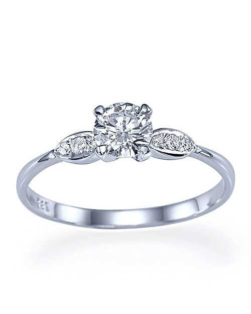 White Gold Thin 4-Prong Vintage Delicate Engagement Ring - 0.5ct Diamond - Custom Made