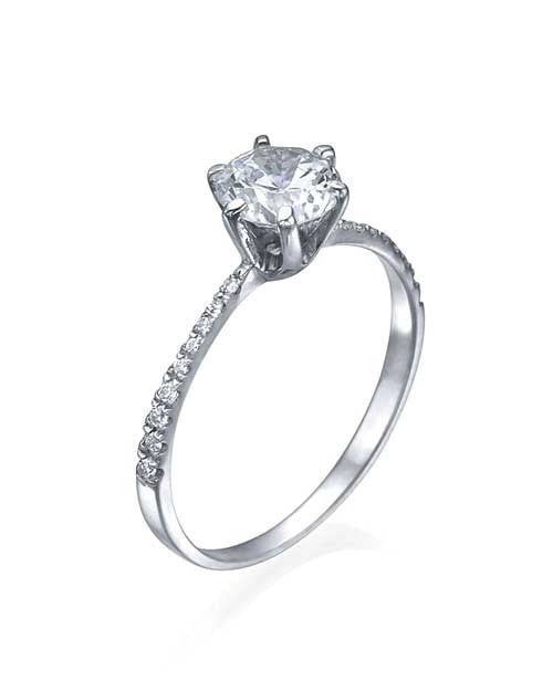 White Gold Thin 6Prong Pave Set Round Diamond Solitaire Engagement