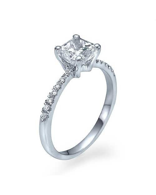 Engagement Rings White Gold Thin Princess Cut Engagement Ring Pave Set - 1ct Diamond