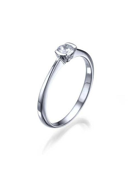 Engagement Rings White Gold Thin Round Settings Mount Diamond Ring