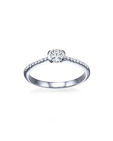Engagement Rings White Gold Thin Semi-Bezel French Pave Set Engagement Ring - 0.3ct Diamond