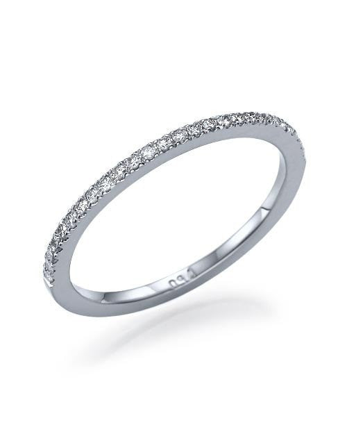 Wedding Rings White Gold Thin Wedding Band Ring - 0.11ct Diamond Semi-Eternity