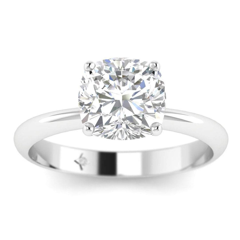 1.50 carat D/SI1 White Gold Cushion Diamond Engagement Ring Timeless 4-Prong Tapered - Custom Made
