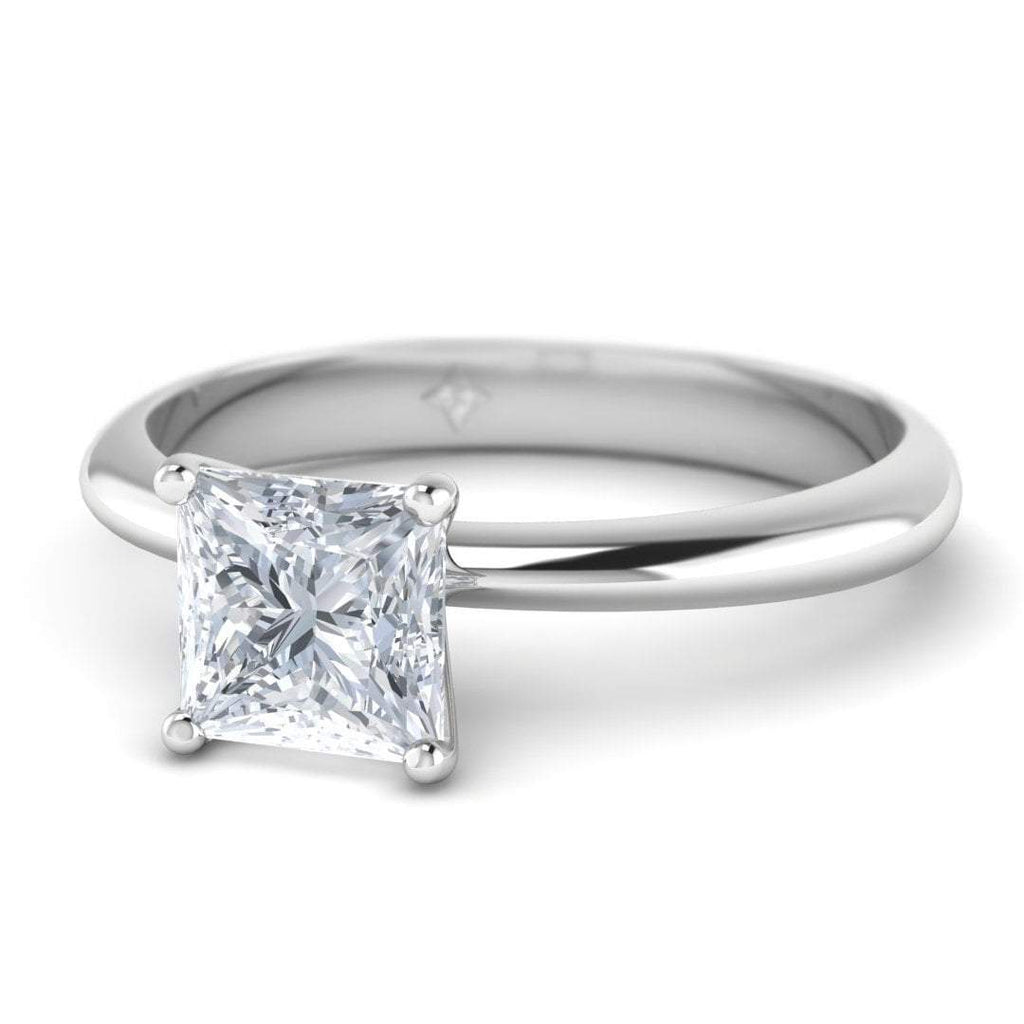White Gold 0.70 carat D/SI1 Princess Cut Diamond Engagement Ring Timeless 4-Prong Tapered - Custom Made