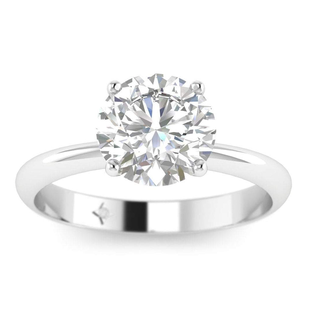 EN-SO-14-NAT-D-SI1-EX White Gold Timeless 4-Prong Tapered Round Diamond Engagement Ring - 0.60 carat D/SI1 100% Natural