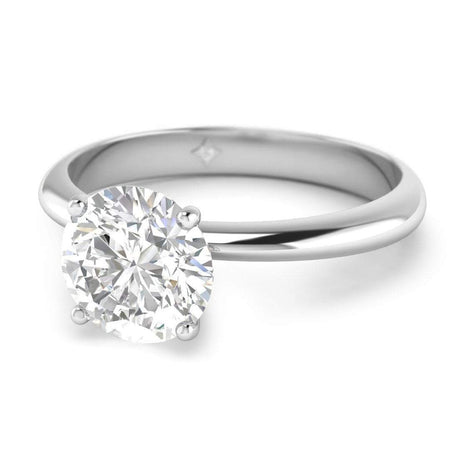 EN-SO-14-CE-D-SI1-EX White Gold Timeless 4-Prong Tapered Round Diamond Engagement Ring - 0.70 carat D/SI1 Clarity Enhanced