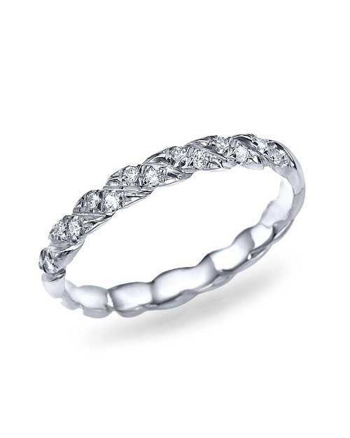 White Gold Twisted 0.11ct Diamond Wedding Ring Band - Shiree Odiz
