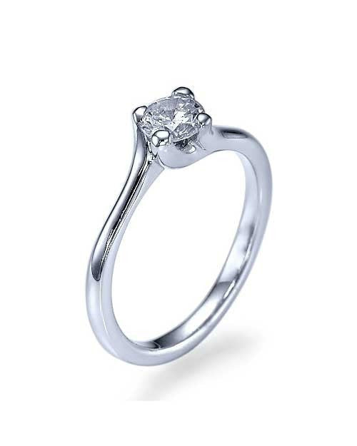 Engagement Rings White Gold Twisted Italian Engagement Ring - 0.5ct Diamond