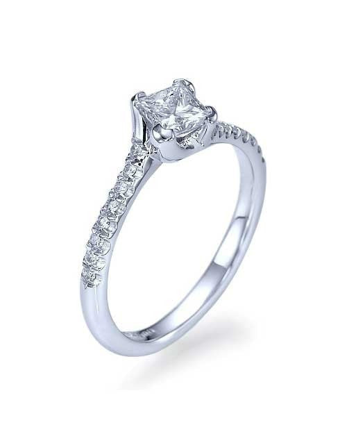 White Gold Twisted Italian Princess Cut Engagement Ring - 0.75ct Diamond - Custom Made