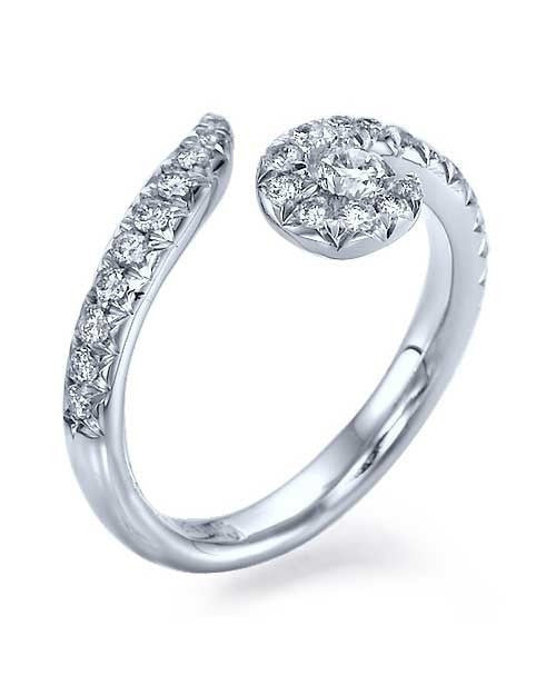 White Gold Twisted Spiral Avant Garde Engagement Ring - 0.2ct Diamond - Custom Made