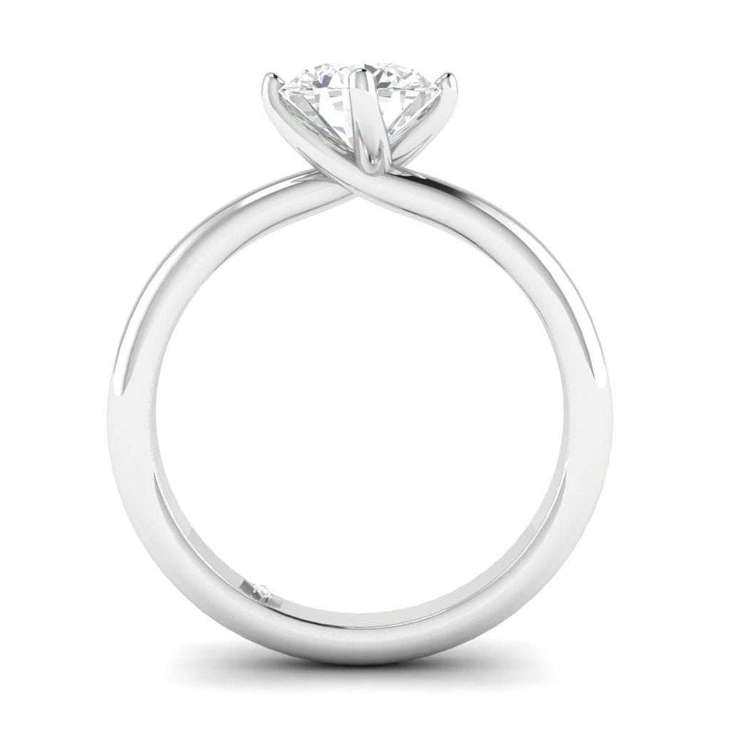 EN-SO-14-NAT-D-SI1-EX White Gold Unique Twist Solitaire Round Diamond Engagement Ring - 0.60 carat D/SI1 100% Natural