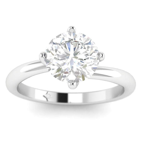 EN-SO-14-CE-D-SI1-EX White Gold Unique Twist Solitaire Round Diamond Engagement Ring - 0.80 carat D/SI1 Clarity Enhanced