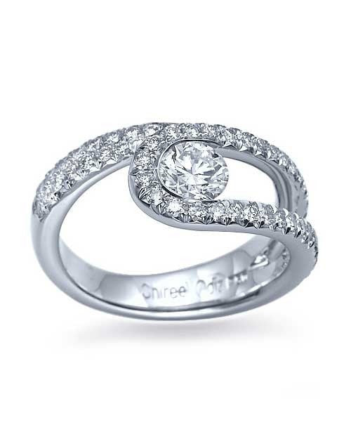 Engagement Rings White Gold Unique Twisted Semi Bezel Set Ring