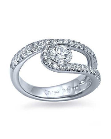 Engagement Rings White Gold Unique Twisted Semi-Bezel Set Engagement Ring - 0.5ct Diamond