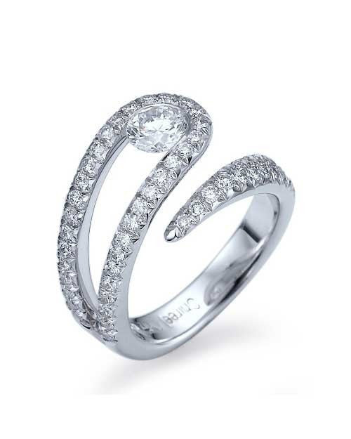 Engagement Rings White Gold Unique Twisted Semi-Bezel Set Mount Diamond Ring