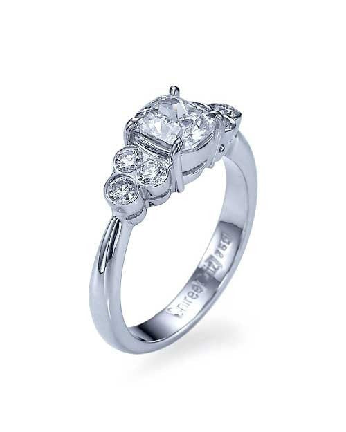 White Gold Unique Vintage Cushion Cut Diamond Engagement Ring - 1 carat - Custom Made