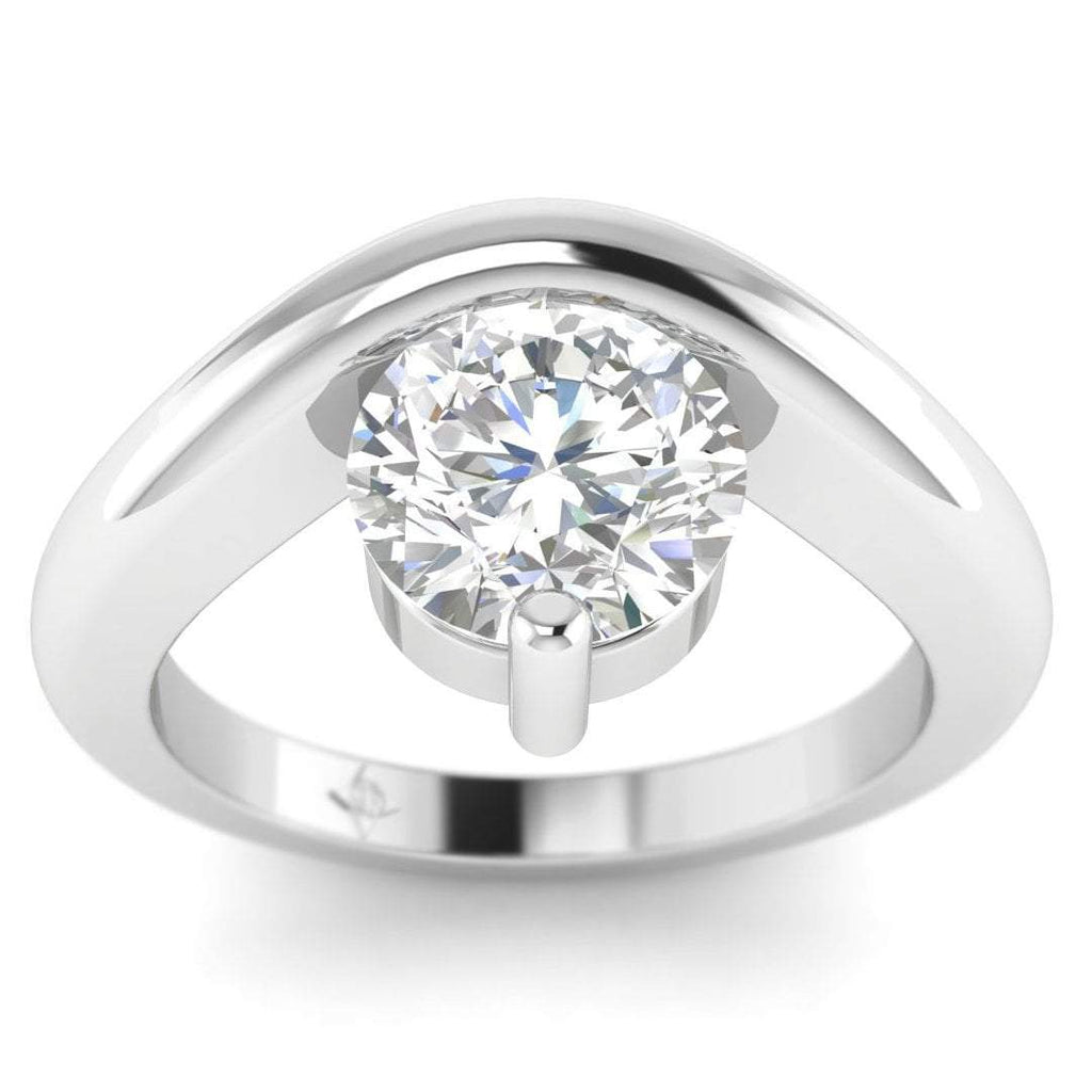 EN-SO-14-CE-D-SI1-EX White Gold Unusual Floating Designer Round Diamond Engagement Ring - 1.00 carat D/SI1 Clarity Enhanced