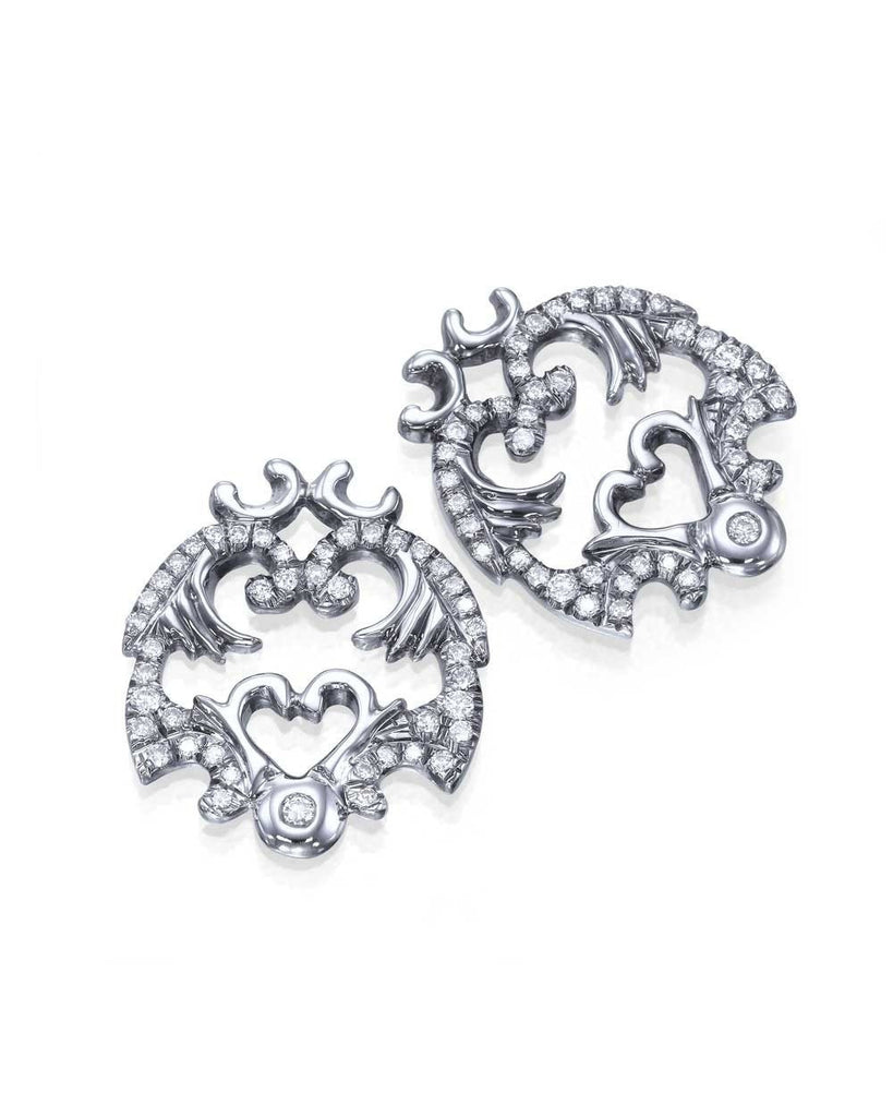 White Gold 'Vault' Antique Filigree Designer Diamond Earrings - Custom Made