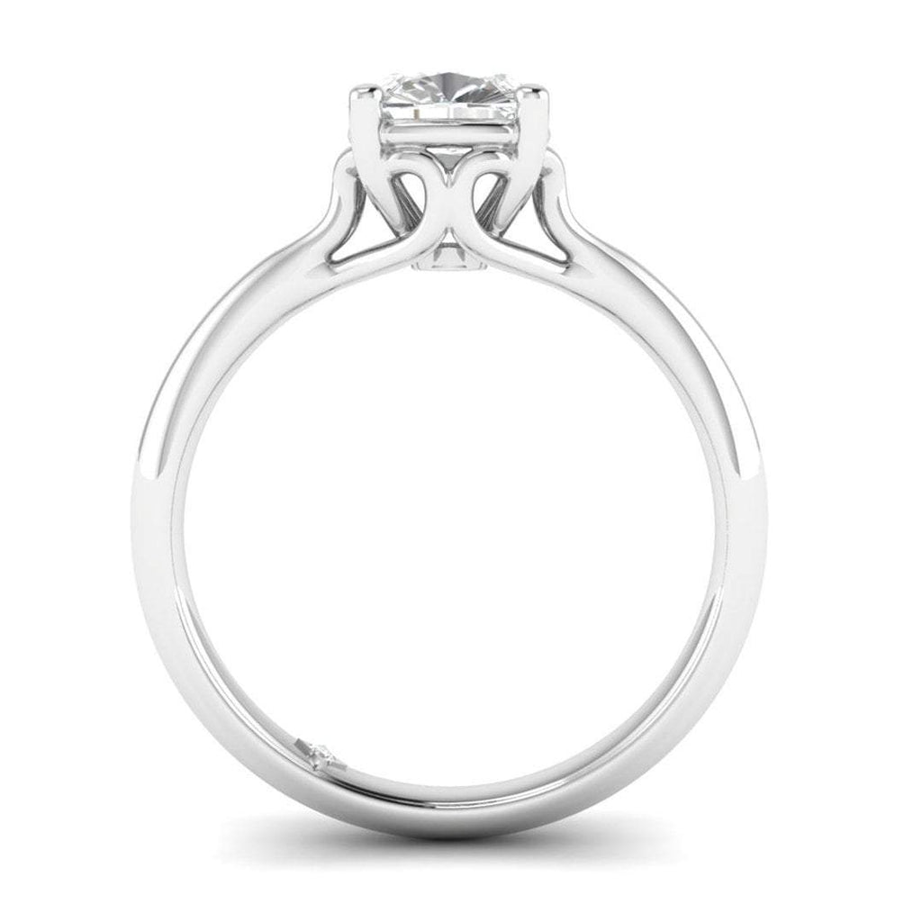 0.90 carat D/SI1 White Gold Cushion Diamond Engagement Ring Vintage Antique-Style Cathedral - Custom Made