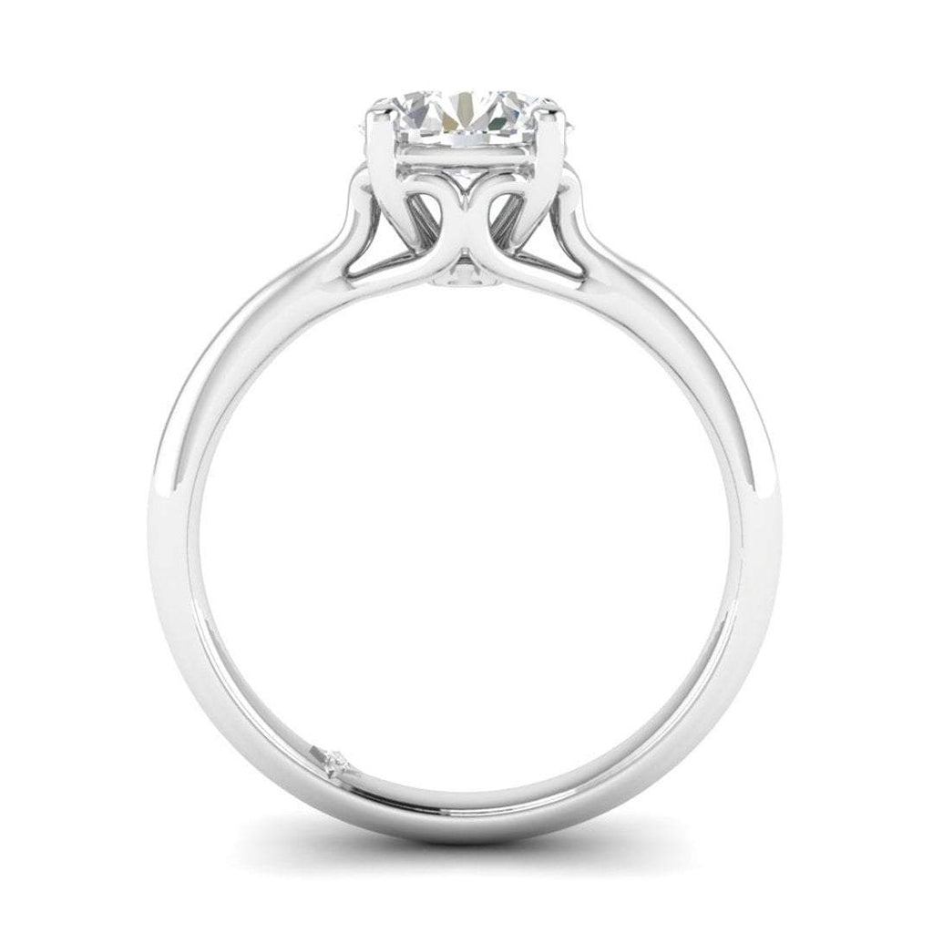 EN-SO-14-CE-D-SI1-EX White Gold Vintage Antique-Style Cathedral Round Diamond Engagement Ring - 1.00 carat D/SI1 Clarity Enhanced